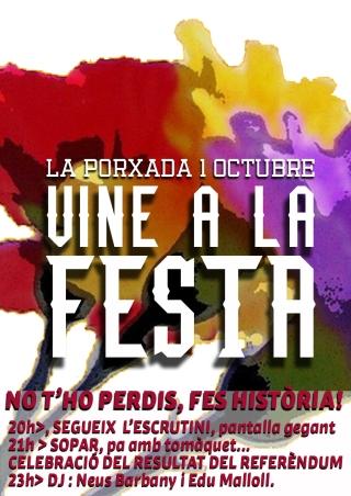 Festa sopar de l'1 d'octubre a Granollers